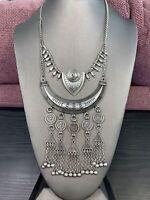 "Vtg Bib Statement Necklace Chunky Statement Style Matte Silver Dangle Charm  18"""