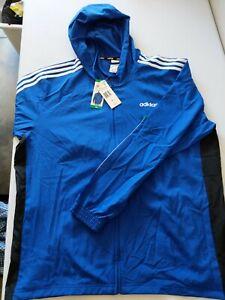 NWT Men's Adidas 3 Stripe Full Zip Lightweight Hoodie FZ Windbreaker XL XLarge