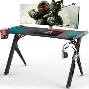 CNASA Gaming Desk Premium Home Office PC Computer Table for Gamer Pro RGB LED