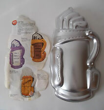 Cake Pan Golf Bag 1987 Wilton Beer Mug w/ Insert 2105-1836 Golfer Drinker Party