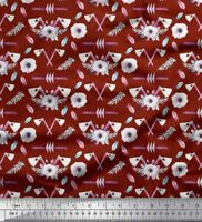 Soimoi Red Cotton Poplin Fabric Hammer & Anemone Floral Print Fabric-S2M
