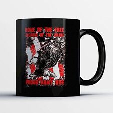 Army Dad Coffee Mug - Home Of The Free - Adorable 11 oz Black Ceramic Tea Cup -