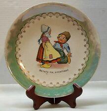 Dutch Girl Boy Plate Green Lusterware Boy on Knee DE McNicol Antique