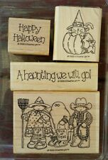 Stampin' Up A HAUNTING WE WILL GO Set 4 Wood Mounted Rubber Stamps Lot Halloween