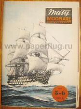 "Maly Modelarz 05-06/1977. HMS ""VICTORY"" PAPER CARD MODEL KIT. Scale: 1/200."