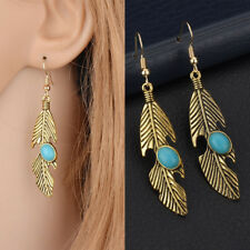 1 Pair Vintage Feather Shape Faux Turquoise Women Earrings Jewellery Accessories