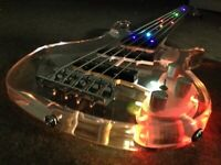 LED Light 5 Strings Electric Bass Guitar Crystal Body