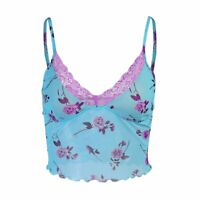 Women Floral Print Lace Trim Camisole V Neck Crop Tops Mesh Tank Tops