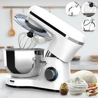 Electric Food Stand Mixer 6 Speed 6QT 850W Tilt-Head Stainless Steel Bowl White