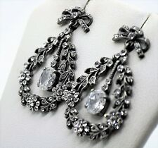 Exquisite Black Alloy Rhinestone party Chandelier Dangle Fashion Earring A296