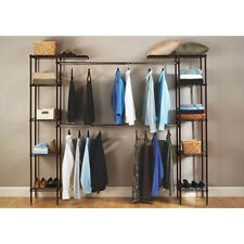 Metal Closet Organizer Expandable System Kit Shelf Clothes Storage Wardrobe Rack