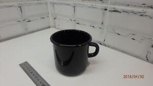 Russia. Enameled steel mug 0,4 liters (0,7 pints). For camping, trekking. Black.