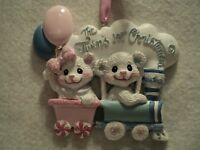 """KSA """"BABY'S 1ST CHRISTMAS ORNAMENT ~ TWINS ~ BOY & GIRL""""  ~ For Personalization"""