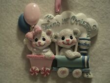 "KSA ""BABY'S 1ST CHRISTMAS ORNAMENT ~ TWINS ~ BOY & GIRL""  ~ For Personalization"