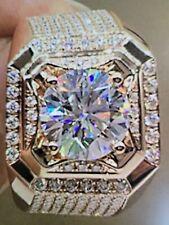 Natural White Sapphire 3.0ct Diamond Ring Luxurious Men's 18k Fashion Rose Gold