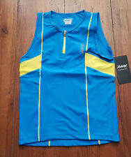 NEW Zoot Mens XL Tri Tank Protege Top Blue Yellow Compression Triathlon Shirt