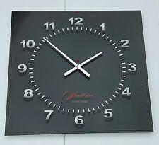 45x45 Wanduhr XXL 3D groß Wohnzimmer Atelier Büro schwarz silber Chrom Design 1a