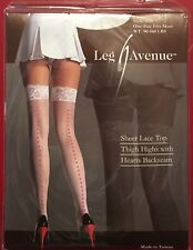 Leg Avenue nylon Hearts Seamed Stockings White Sheer Lace Top