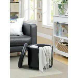 Convenience Concepts Designs4Comfort Round Storage Ottoman, Black - 163523BL
