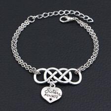 Best Friend Sister Always Charms Silver Pendants Infinity Love Leather Bracelet