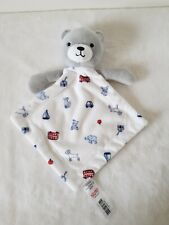 Morrisons Little Nutmeg Grey & White Teddy Bear Baby Comforter Bus Dog Yacht