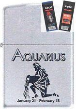 Zippo 9282 horoscope aquarius Lighter with *FLINT & WICK GIFT SET*