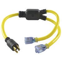 Conntek YL1430520S L14-30P to (2) 5-15/20R 30 Amp Generator Y-Adapter Splitter