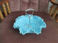 Fenton opalescent blue/slag hobnail ruffled nut/candy dish with center handle