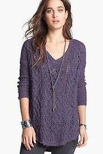 FREE PEOPLE Cross My Heart Sweater Pullover F874X606 purple deep orchid S