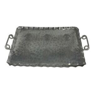 Vintage Cromwell Tray 9308 Hand Wrought Hammered Aluminum Large Wheat Design