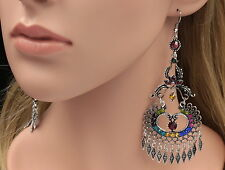 Floral Boho Chic mix colors crystal chandlier old silver plated earrings B42