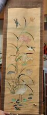 Japanese Vintage Asian Silk Embroidered Picture Art Handmade paperscroll signed