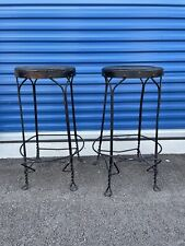 New listing Set Of 2 Vtg Twisted Metal Black Wrought Iron Ice Cream Parlor Stool Bar Chair