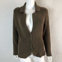 J.Jill Womens Large Fitted Brown Knit Button Front Cardigan Sweater