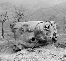 WW2 Photo WWII US Army M4 Sherman Knocked Out 10th Mountain Italy 1944 / 3115