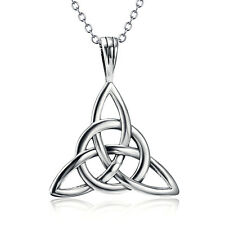925 Sterling Silver Celtic Knot Triquetra Trinity Luck Pendant Necklace Jewelry