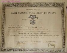 DIPLOME LEGION D'HONNEUR PDT MUTILES COTE D'OR 1930