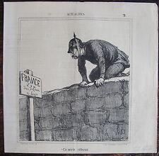 DAUMIER, LITHOGRAPHIE ORIGINALE, ACTUALITES N°78 / FRANCE PIEGE A LOUP