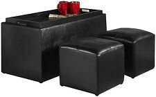 NEW Convenience Concepts Sheridan Faux Leather Storage Bench 2 Side Ottomans