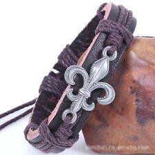 Trendy Simple Fleur-De-Lis Leather Alloy Adjustable Unisex Cuff Bracelet Bangle