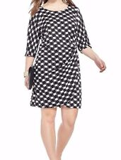 Signature By Robbie Bee Geo Print Faux Wrap Dress With Side Gather Size 2X