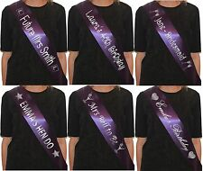 Personalised Sash Hen Party Night Do in Purple / Birthday Sashes accessory/gift
