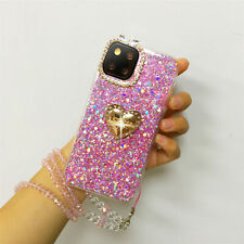 For iPhone 11Pro MAX/LG Stylo 6 Bling Glitter Ring Stand Diamond Lanyard Case