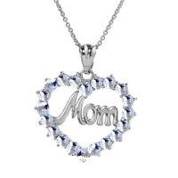 ".925 Sterling Silver ""MOM"" Aquamarine (LCAQ) Open Heart Pendant Necklace"