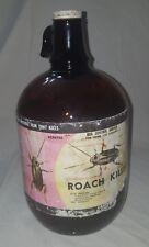 X ROACH KILLER 1 gallon glass empty poison bottle advertisement prop old vintage