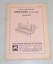 Teilekatalog / Ersatzteilliste Amazone Drillmaschine D3 / D3A / D3K von 10/1968