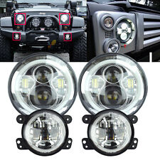 LED Halo Headlights & LED Fog Light DRL Combo Kit For Jeep Wrangler JK 07-2016 C