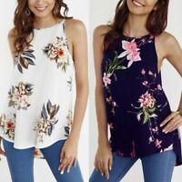 Womens Sleeveless Vest Tank Tops Summer Beach Floral Blouse Loose T Shirt Casual