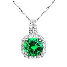Luxury Silver Green Zircon Rhinestones Square Pendant Decoration Necklace N440