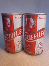 Koehler Lager Beer 12 ounce can pull tab Erie Brewery Erie, PA lot of 2